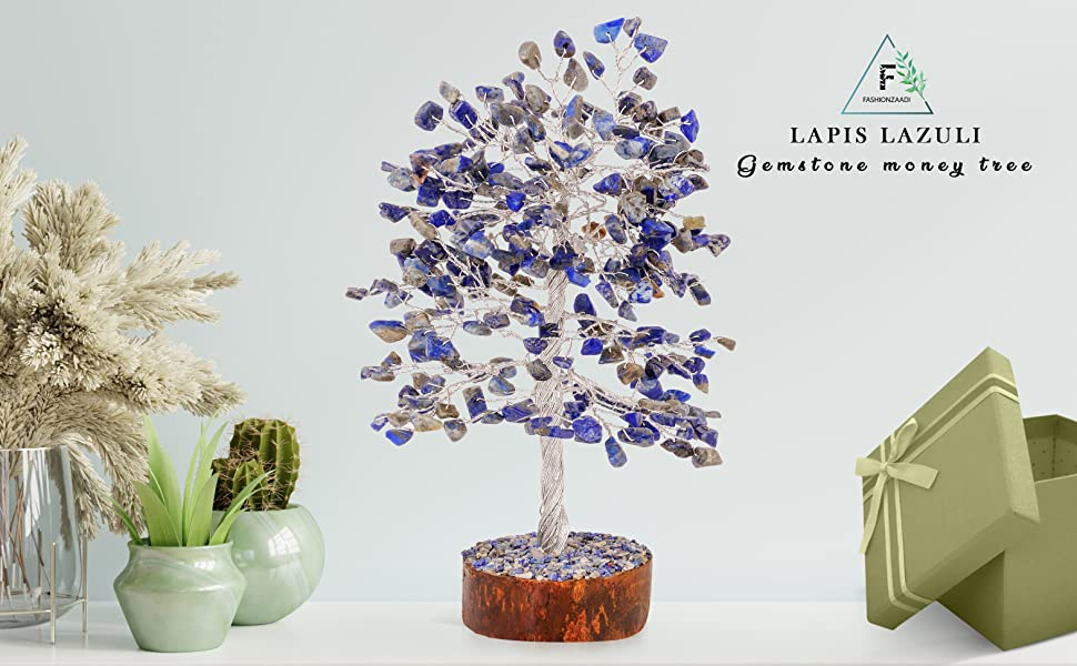 lapis lazuli bonsai money tree decor home crystal gemstone feng shui trees crystals stones gemstones