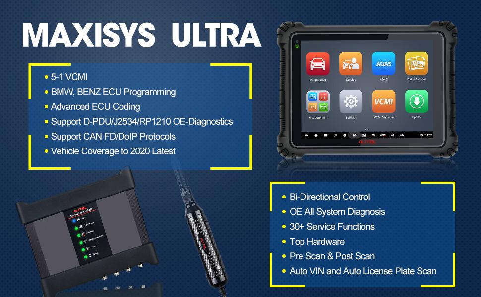 Autel MaxiSys Ultra Auto Diagnostic Scanner J2534 ECU Programming+MaxiFlash  VCMI
