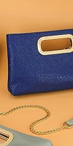 Women Glossy Patent Leather Clutch Cut Out Metal Handle Chain Shoulder Handbag black