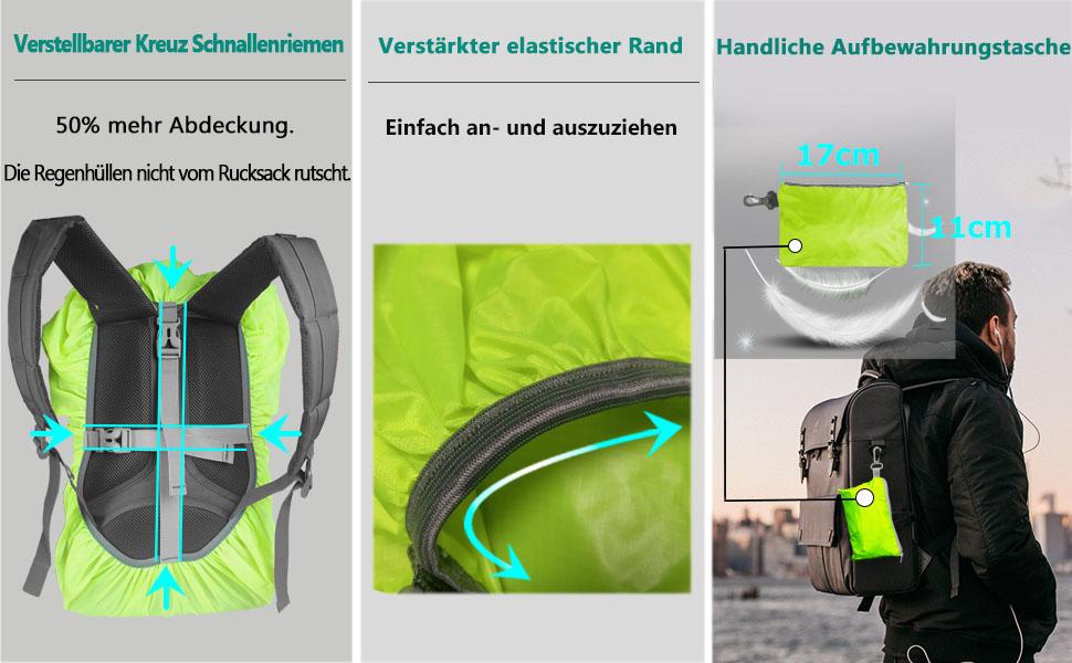 Overmont Wasserdicht Verschlei/ßfest Rucksack Regencover Regenabdeckung Regenschutz Regenschutzh/ülle f/ür Reisen Camping Radfahren Schwarz//Blau S//M//L