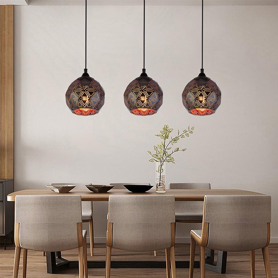 black pendant light over kitchen island