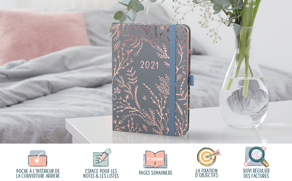 Agenda 2021 Semainier, Professionnel, Planning Mensuelle, Listes, Notes, Pages en pointillé, Poche