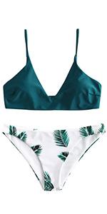 ZAFUL Leaf Print Padded Bikini Set