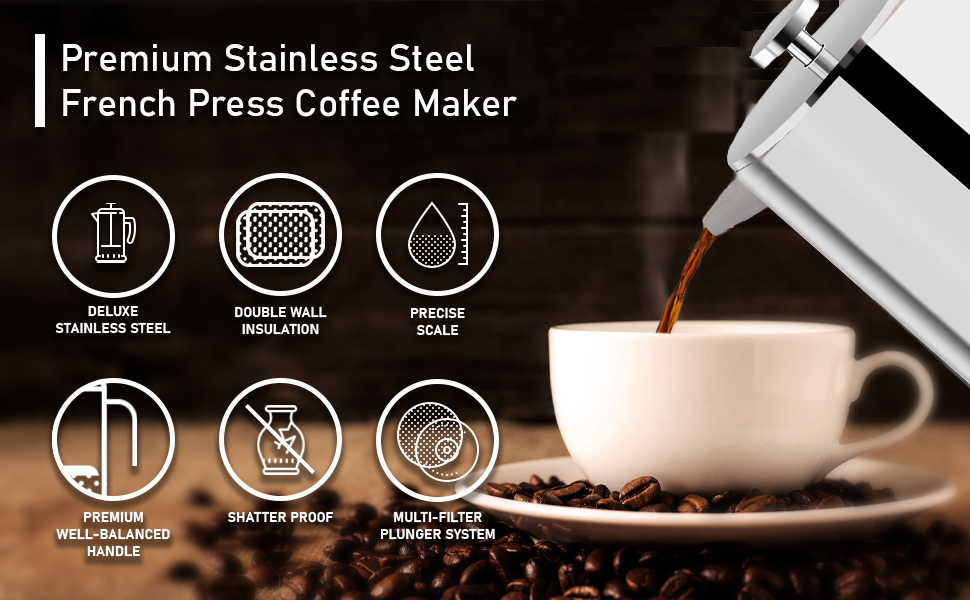French Press Coffee Maker - Insulated Stainless  Steel - Coffee Makers for Home, Camping, Traveling