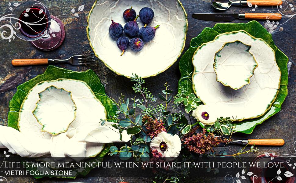 foglia stone vietri italy leaves vine green white stoneware ceramic dinnerware table plates bowls
