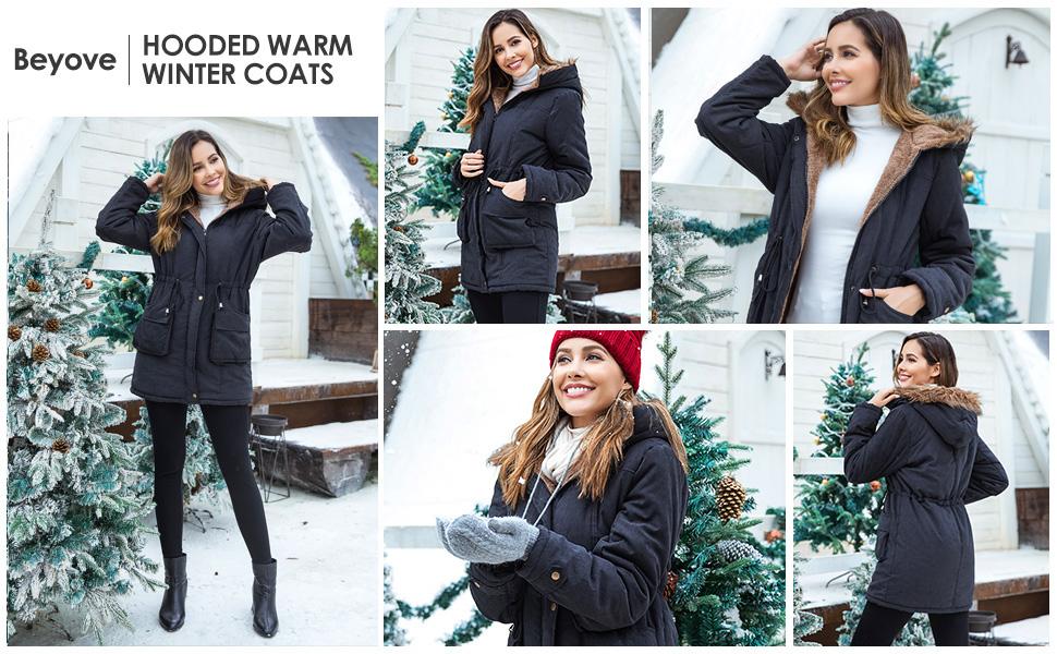 c3955b5f8 Beyove Womens Hooded Warm Winter Coats with Faux Fur Lined Outwear Jacket