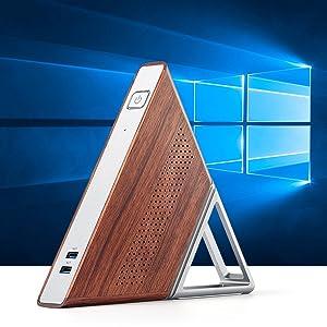 Triangle Mini PC Portable Windows 10 Pro Desktop Computer Quad-core CPU 8G Ram 64G eMMC 128G SSD
