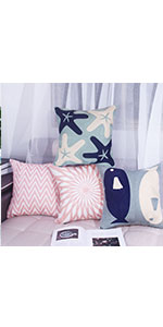 blue&pink pillow covers