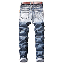 biker skinny jeans men slim fit moto ripped distressed stretchy design hip hop straight fashion blue