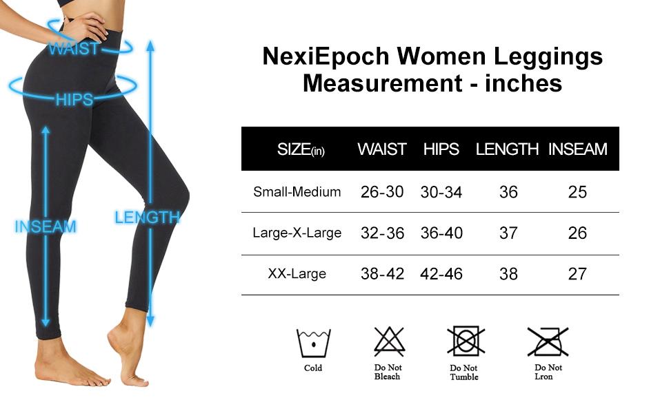women leggings small large x-large size chart