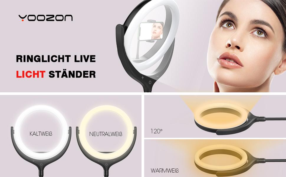 Yoozon LED Ringlicht mit Fernausl/öser,6000K Ringleuchte 3 Farbe 10 Helligkeiten Ringlampe licht Ring f/ür YouTube,Facebook,Blog,Self-Portr/ät,live Stream,schminken,Influencer,Foto Videoaufnehme usw.