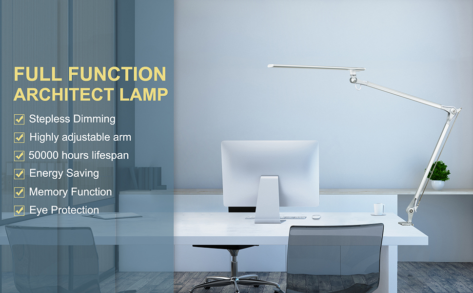 Amazon Com Phive Cl 1 Led Architect Desk Lamp Clamp Lamp Metal Swing Arm Dimmable Task Lamp Touch Control Eye Care Technology Memory Function Highly Adjustable Office Work Light Silver Home Improvement