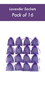 16 Purple French Dried Lavender Sachets Craft Bag