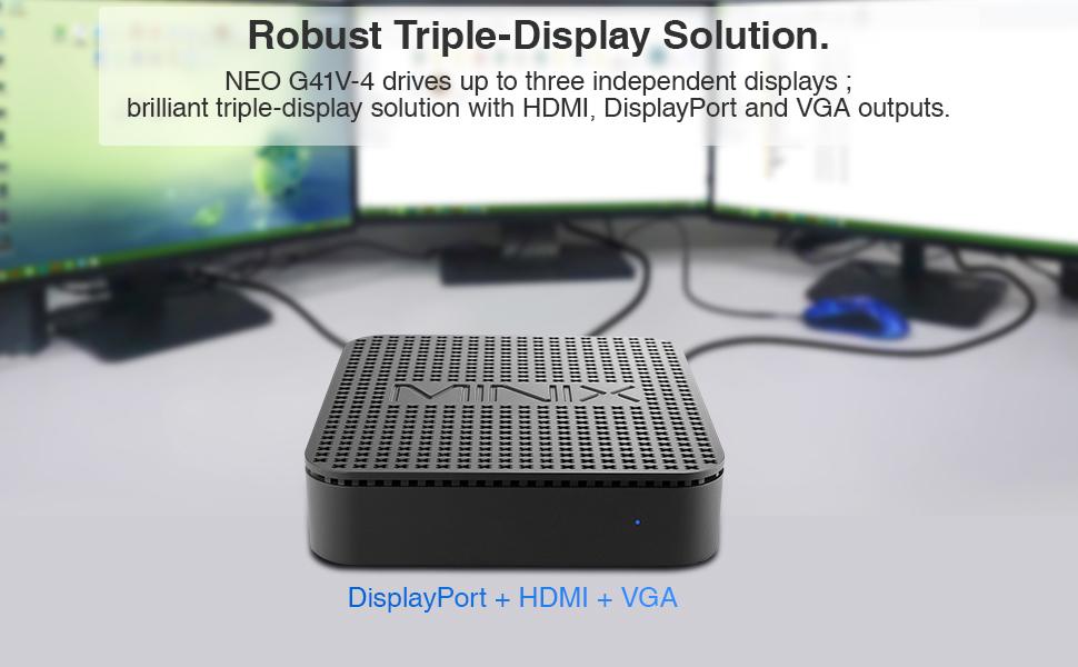 Triple-Display via HDMI, VGA and display port