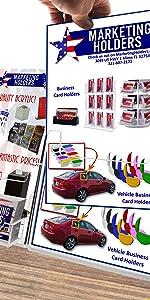 Marketing Holders Multi Pocket Brochure amp; Business Card Tri-Fold Holder Counter Top