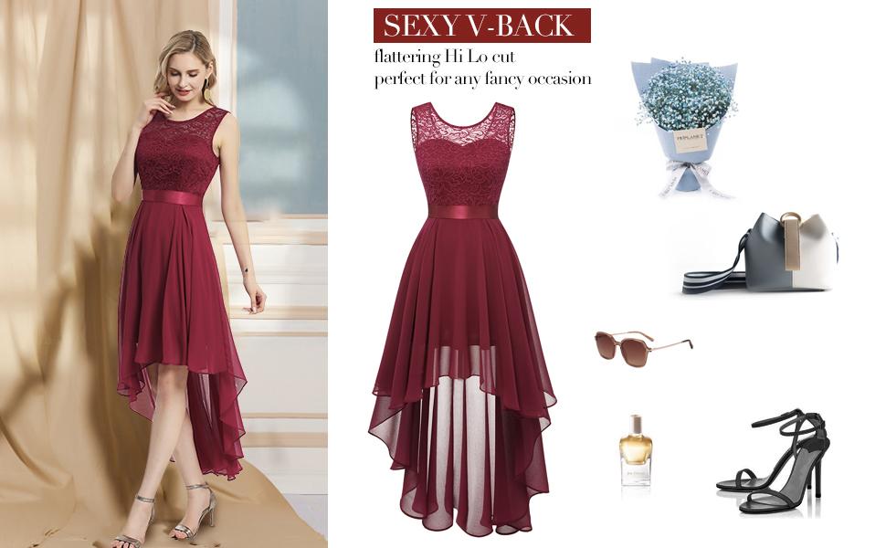 Hi low lace chiffon cocktail formal dress