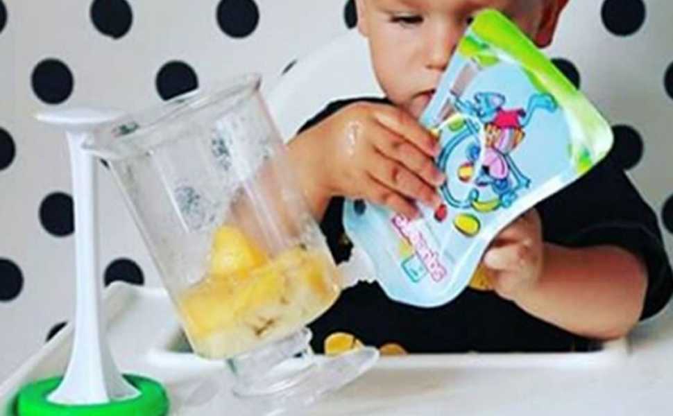 Fill n Squeeze 15001 Weaning Pouch filling system with reusable Baby pouches For