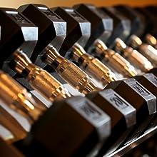 dumbbells pairs, hex comfort grip dumbbells, knurled handles, rubber hex weights dumbbells, gym bars