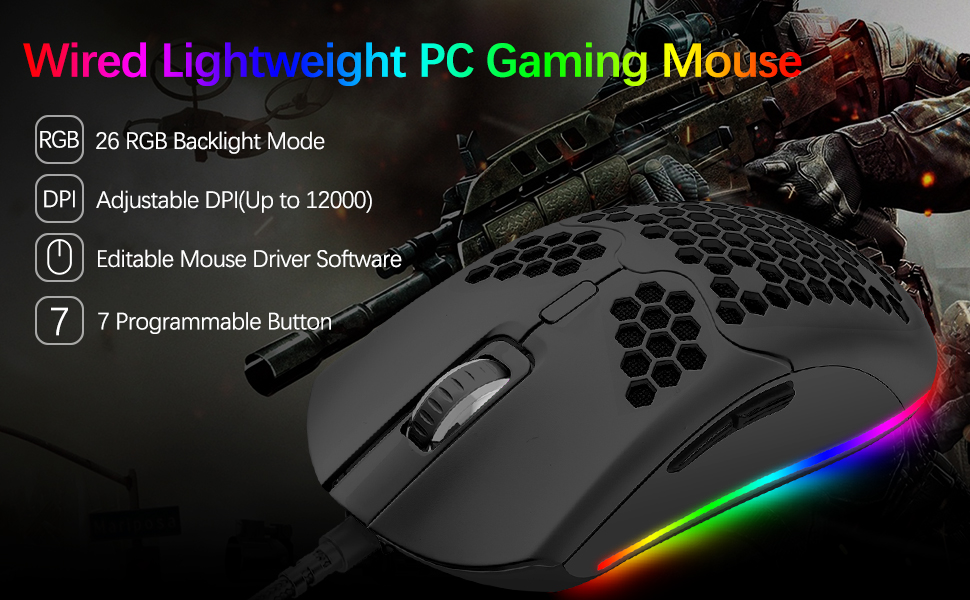 Wire lightweight gaming mouse