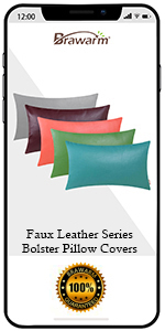 Faux Leather Bolster Pillow Covers