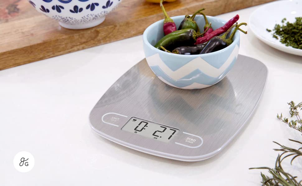GreaterGoods Digital Food Weight Scale, Grams and Ounces (Stainless Steel)