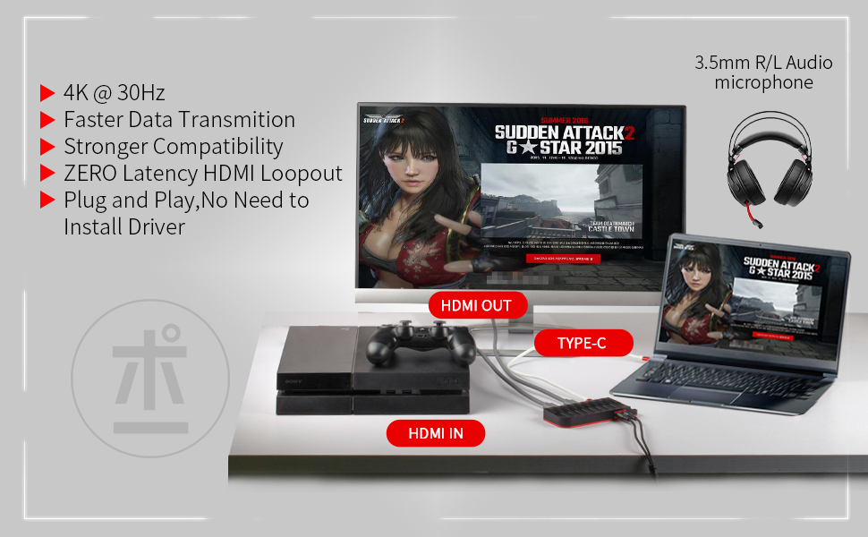 ShuOne Tarjeta de Captura USB-C, 4K 30FPS, HD 1080P 60FPS, capturadora de Video del - Compatible con Windows, Linux, macOS, OBS Streaming para PS3 PS4 Xbox Wii U: Amazon.es: Informática