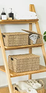 Seagrass Storage Baskets with Lid- Set of 3