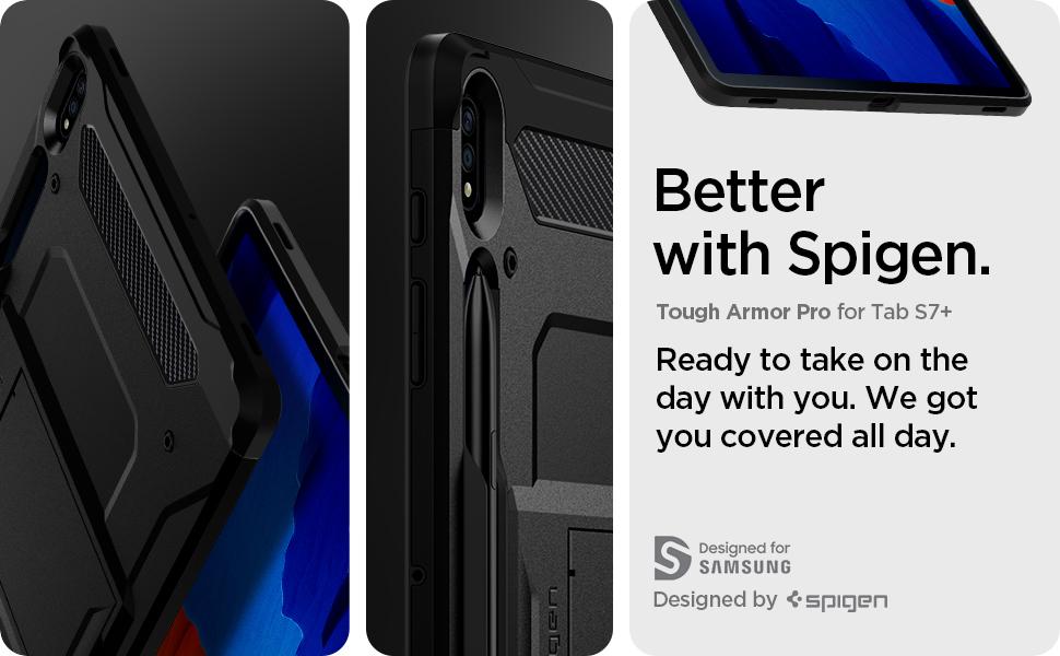 Spigen Tough Armor Pro Coque pour Galaxy Tab S7 Plus (2020) Noir