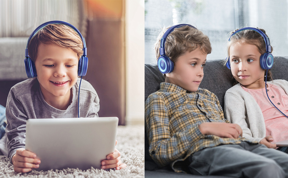 P10-blue - POWMEE P10 Kids Headphones With Microphone,HD Sound Headphones For Children Boys Girls,Adjustable 85dB/94dB Volume Control,Foldable On-Ear Headpone With Mic For School/PC/Cellphone(Blue)