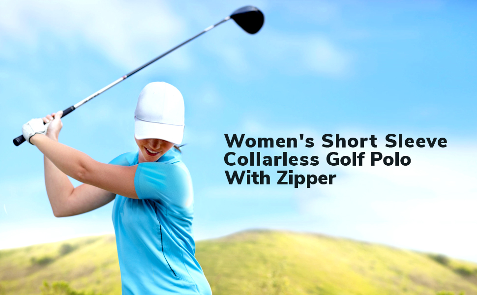 Short sleeve collarless golf polo with zipper.