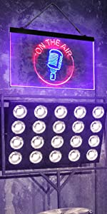 ADVPRO On The Air Microphone Studio Recording Signal Dual Color LED Neon Sign