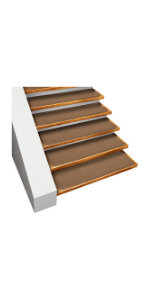 Skid Resistant House Home and More Gray Stair Treads Adhesive Carpet Toffee Brown