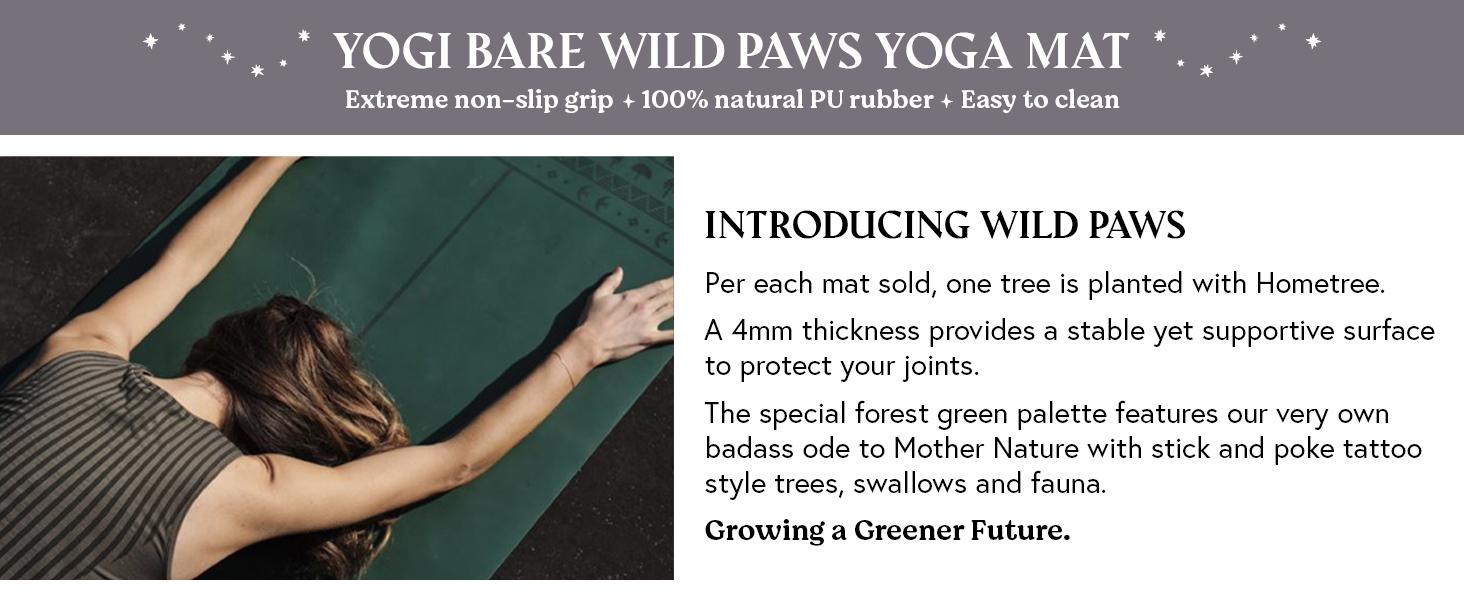 Yogi Bare Wild paws yoga mat extreme grip, natural rubber