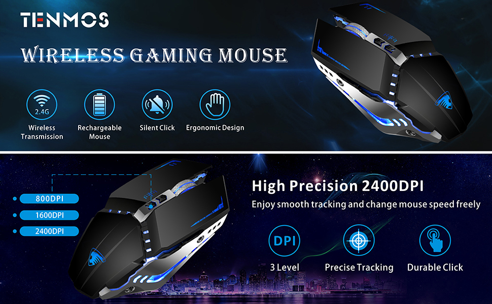 wireless gaming mouse black