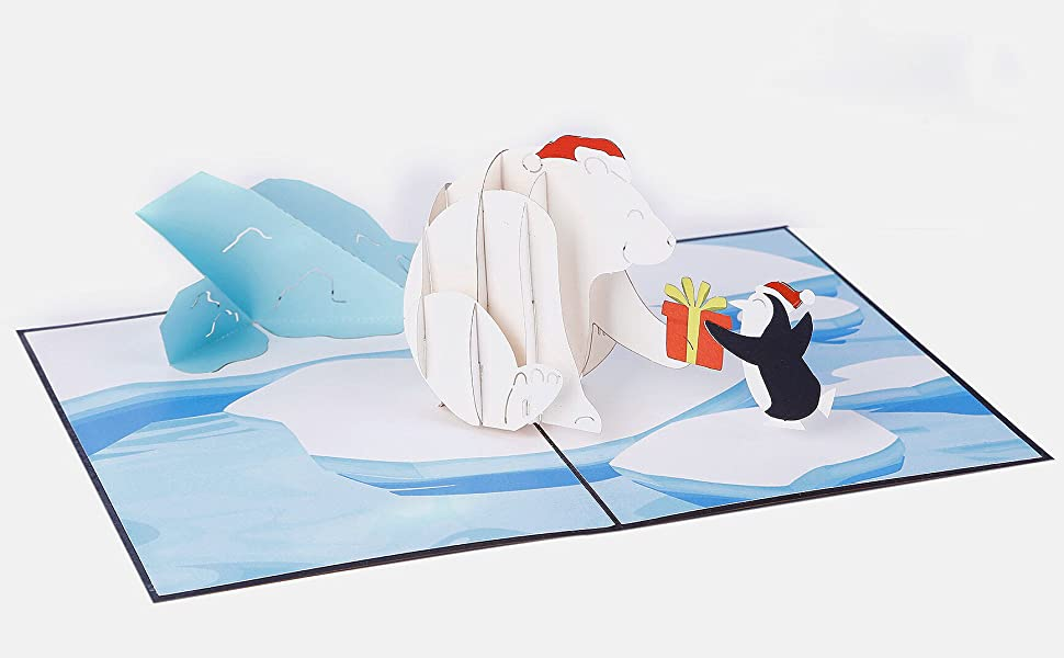 3D card penguin play with snowman Papercraft Christmas Greeting family gift  L08