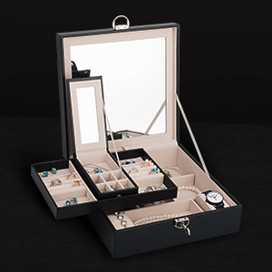 Removable Storage Slots- 6 Ear Stud & Ring Cases, 2 Ring Display Cases, 2 Watches Brackets Slots