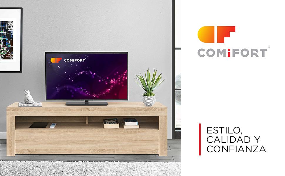 COMIFORT Mueble de TV - Mesa de Salón de Estilo Moderno con Puerta ...