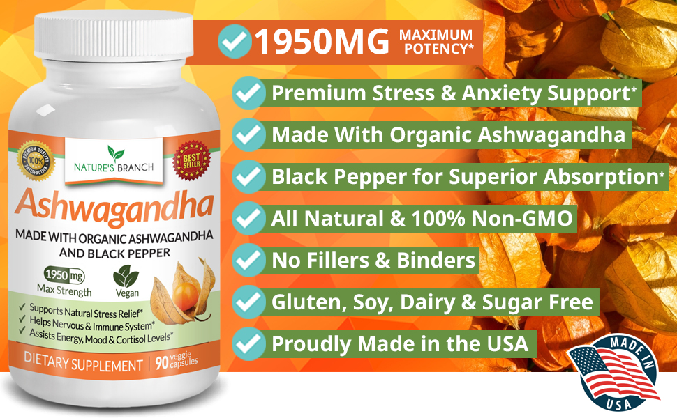Ashwagandha benefits thyroid hormones cortisol adrenal fatigue support on amazon for anti anxiety