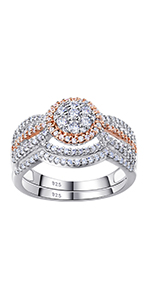 Newshe Cz Gold Engagement Rings for Women Wedding Ring Sets BR0761