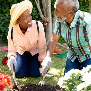 Seniors gardening in posture medics