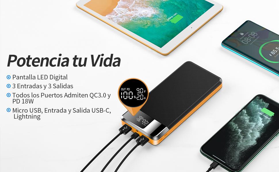 ORITO Bateria Externa 26800mAh Power Bank USB C PD18W & QC3.0 Gran ...