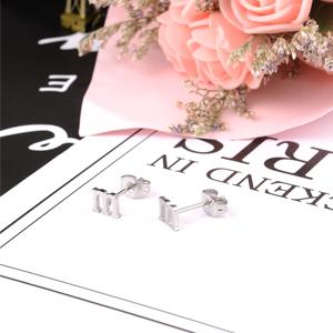 initial earrings for women girls silver gold rose gold