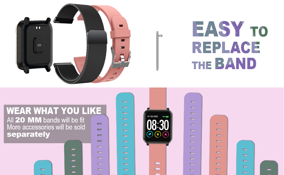 Huawise fitness tracker is easy to repalce the band which is 20 mm band