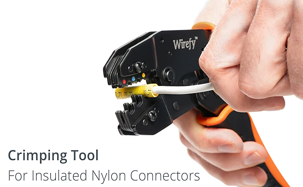 Wirefy Crimping Tool For nylon Connectors Ratchet Terminal Crimper Wire Crimp Tool Banner