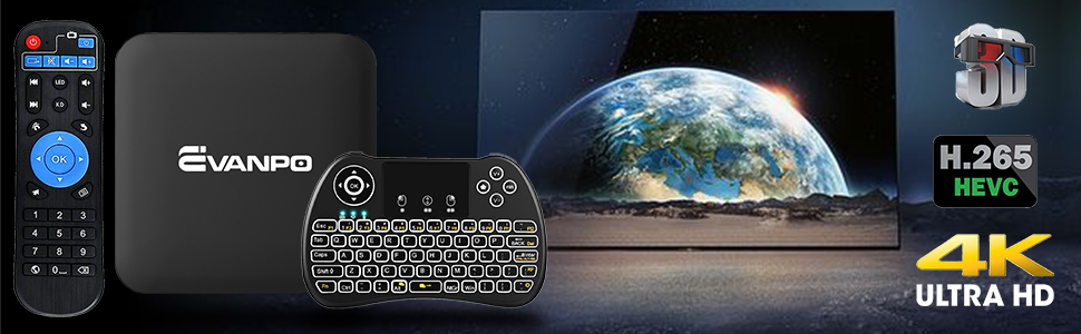 Android tv box with wireless mini keyboard