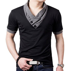 ainr Mens O-Neck Short Sleeve Button Down Henley Shirt Slim Shirt Top T Shirt