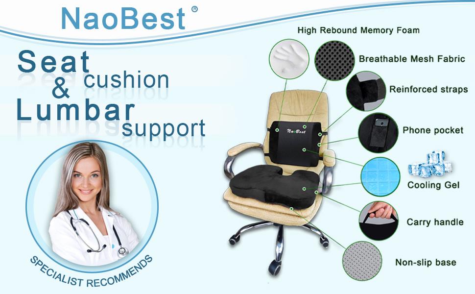 seat lumbar back cushions orthopeic universal cooling gel comfort memory foam support health present