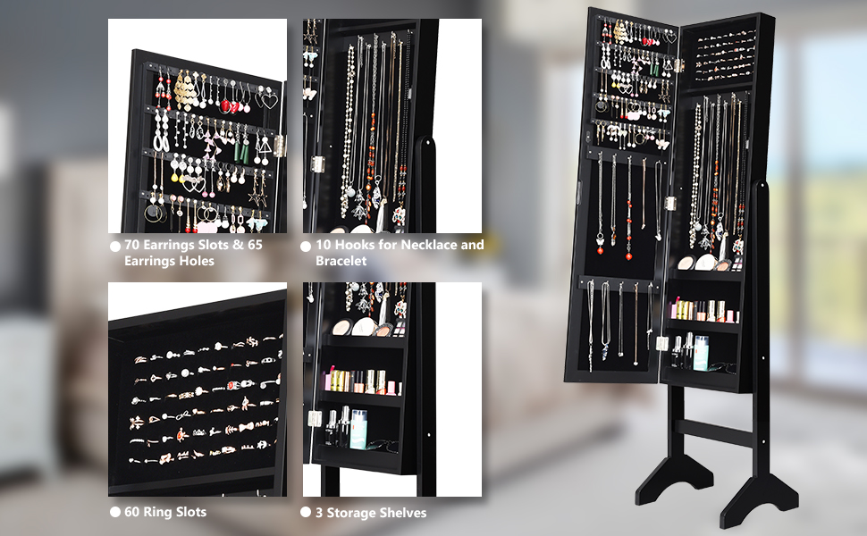 Jewelry Cabinet Armoire with Mirror