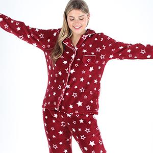 Women's Fleece Long Sleeve Button-Down Pajama