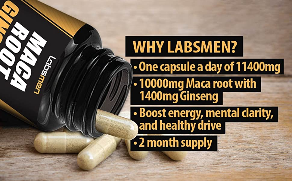 one capsules a day of 11400mg. 10000mg Maca root with 1400mg Ginseng, Boost energy, mental clarity